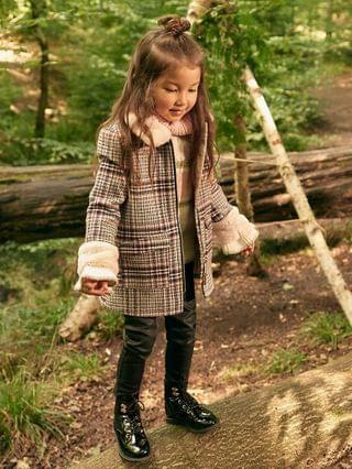 KIDS Mini girls ecru check faux fur collar coat