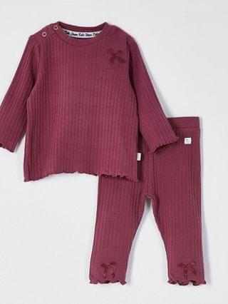 KIDS red ribbed bow leggings outfit
