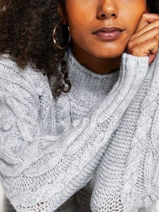 WOMEN Grey long sleeve cable knit jumper