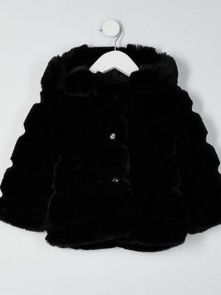 KIDS Mini girls black faux fur hood coat