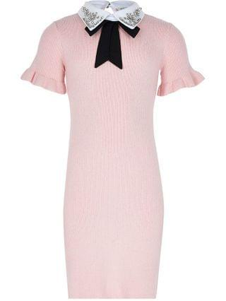 KIDS pink collar ribbed jumper dress