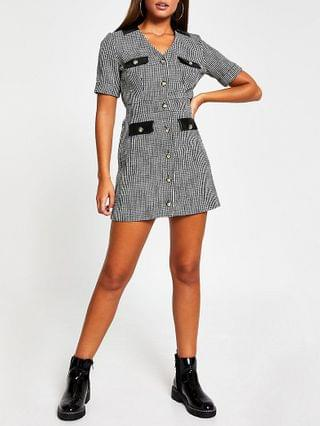 WOMEN Black short sleeve boucle pocket shirt dress