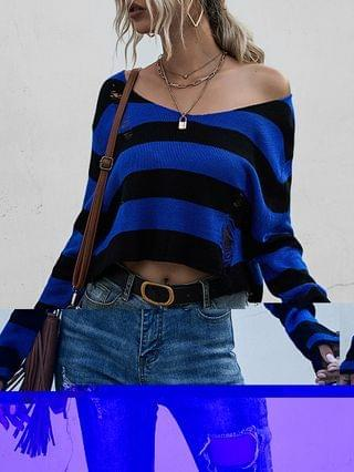 WOMEN Striped Ripped Drop Shoulder Sweater
