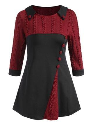 WOMEN Cable Knit Panel Buttoned Three Quarter Sleeve Top