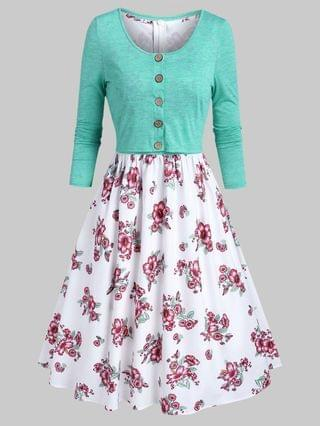 WOMEN Floral Print Dress and Button Up Top Sets