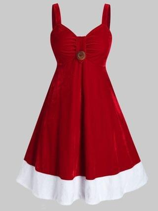 WOMEN Plus Size Two Tone Velvet Backless A Line Christmas Dress