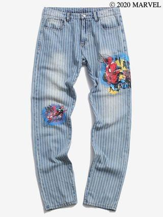 MEN Marvel Spider-Man Graphic Pinstriped Casual Jeans
