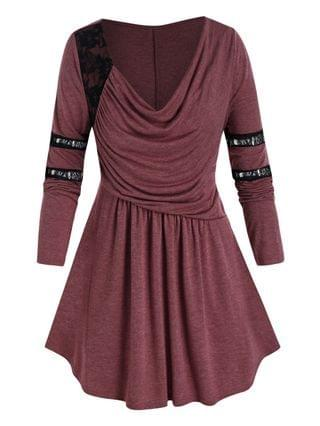 WOMEN Plus Size Ruched Draped Cowl Front Lace Panel Tunic Tee