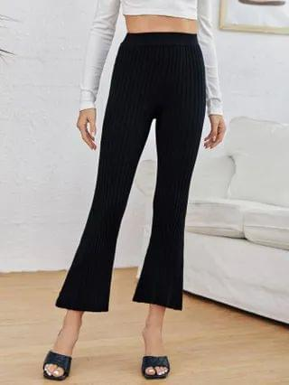 WOMEN Flare Leg Rib-knit Sweater Pants