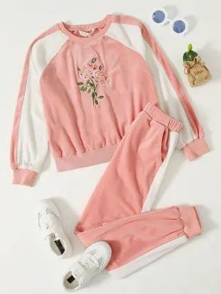 KIDS Floral Embroidery Teddy Pullover & Sweatpants Set