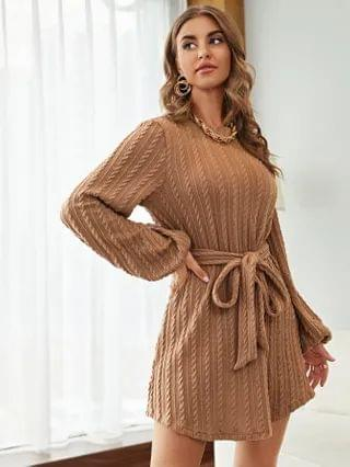 WOMEN Lantern Sleeve Cable Knit Belted Dress