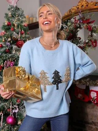 WOMEN Christmas Pearls Beaded Sequin Tree Front Sweater