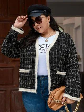 WOMEN Plus Contrast Binding Plaid Tweed Jacket