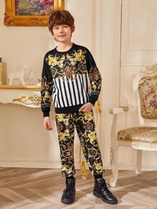 KIDS Baroque Print Striped Pullover and Joggers Set