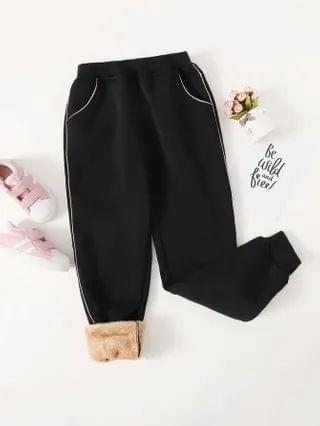 KIDS Contrast Piping Shearling Lined Joggers