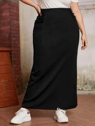 WOMEN Plus Ruched Mesh Detail Maxi Skirt