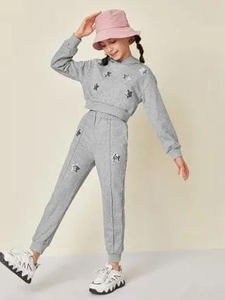 KIDS Sequin Star Patched Hoodie and Joggers Set