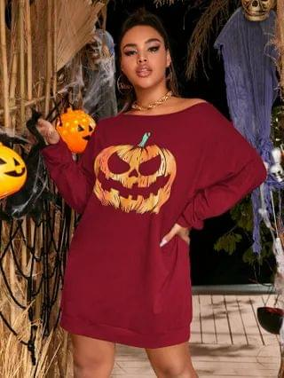 WOMEN Plus Halloween Print Batwing Sleeve Sweatshirt Dress
