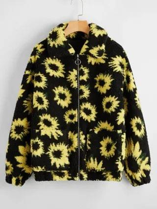 WOMEN Allover Floral Print Dual Pocket Teddy Jacket