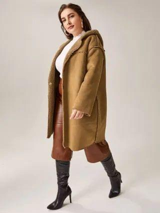 WOMEN Plus Plush Lined Hooded Suede Coat