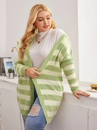 WOMEN Plus Striped Pattern Open Front Drop Shoulder Cardigan
