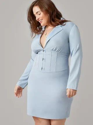 WOMEN Plus Notched Collar Hook And Eye Seam Front Dress