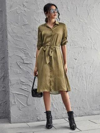 WOMEN Polka Dot Belted Shirt Dress