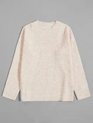 MEN Ribbed Knit Solid Sweater