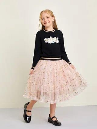 KIDS Sequin Letter Pullover & Galaxy Mesh Tiered Skirt Set
