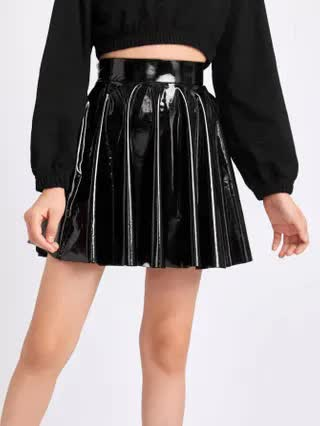 KIDS Girls Zip Back PU Leather Skirt