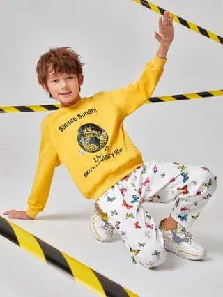 KIDS Earth & Slogan Graphic Pullover And Butterfly Joggers Set