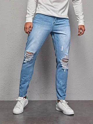 MEN High-Waisted Ripped Straight Jeans
