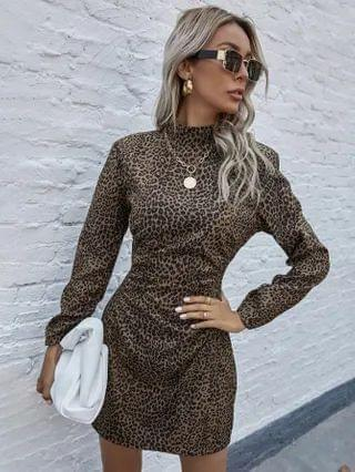 WOMEN All Over Print Puff Sleeve Fitted Dress