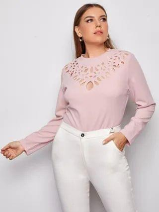 WOMEN Plus Laser Cut Yoke Solid Top