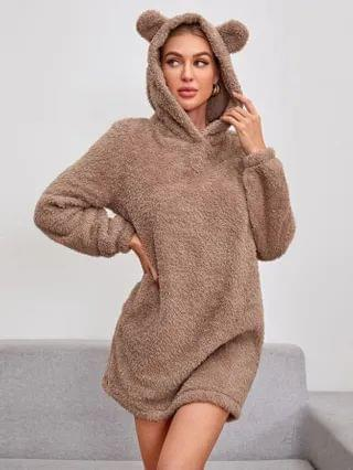 WOMEN Ear Detail Hooded Teddy Sweatshirt Dress