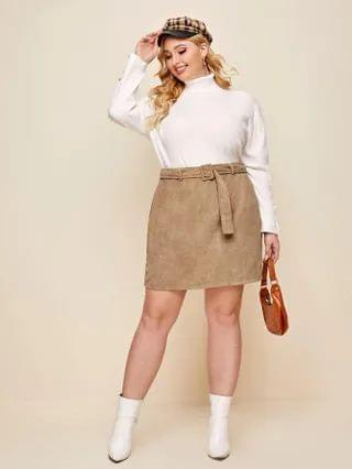 WOMEN Plus Buckle Belted Cord Skirt