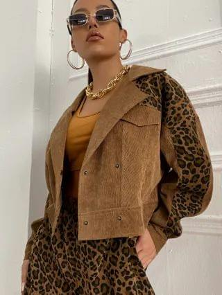 WOMEN Corduroy Lapel Collar Leopard Panel Jacket