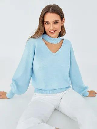 WOMEN Choker Neck Lantern Sleeve Sweater