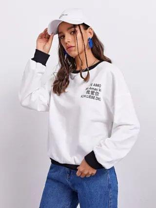 WOMEN Drop Shoulder Contrast Trim Slogan Graphic Pullover