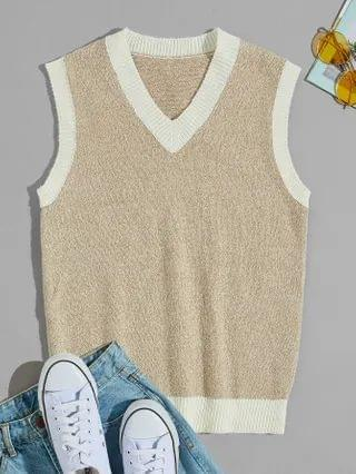 MEN Contrast Binding Sweater Vest