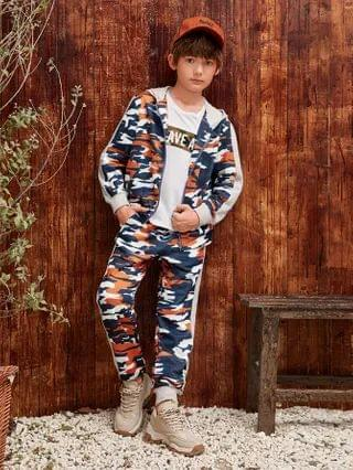 KIDS Contrast Sideseam Camo Zipper Up Hooded Sweatshirt & Joggers Set