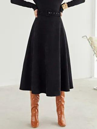 WOMEN Self Belted Solid Skirt