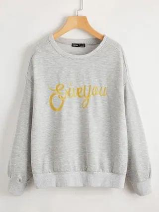 WOMEN Drop Shoulder Letter Embroidery Pullover