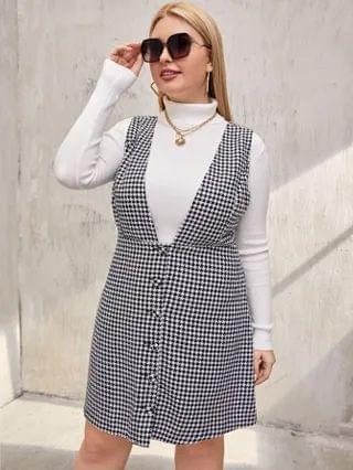WOMEN Plus Button Front Tweed Dress