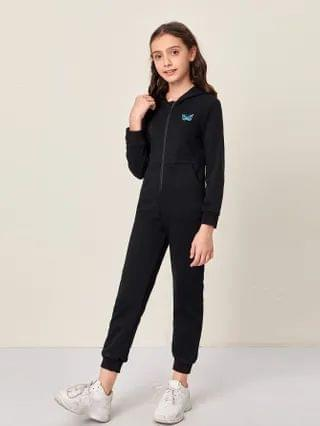 KIDS Butterfly Patched Zipper Placket Front Hooded Jumpsuit