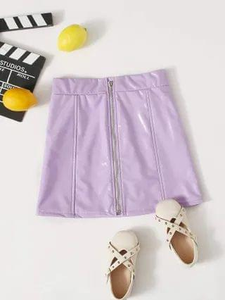 KIDS Zipper Fly PU Leather Skirt