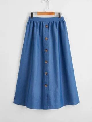 KIDS Button Up Solid Skirt