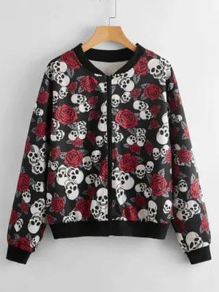 WOMEN Plus Skull And Floral Print Bomber Jacket