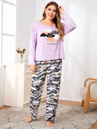 WOMEN Plus Clouds And Slogan Graphic Long Sleeve PJ Set