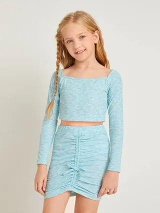 KIDS Space Dye Crop Tee & Ruched Knot Front Skirt Set